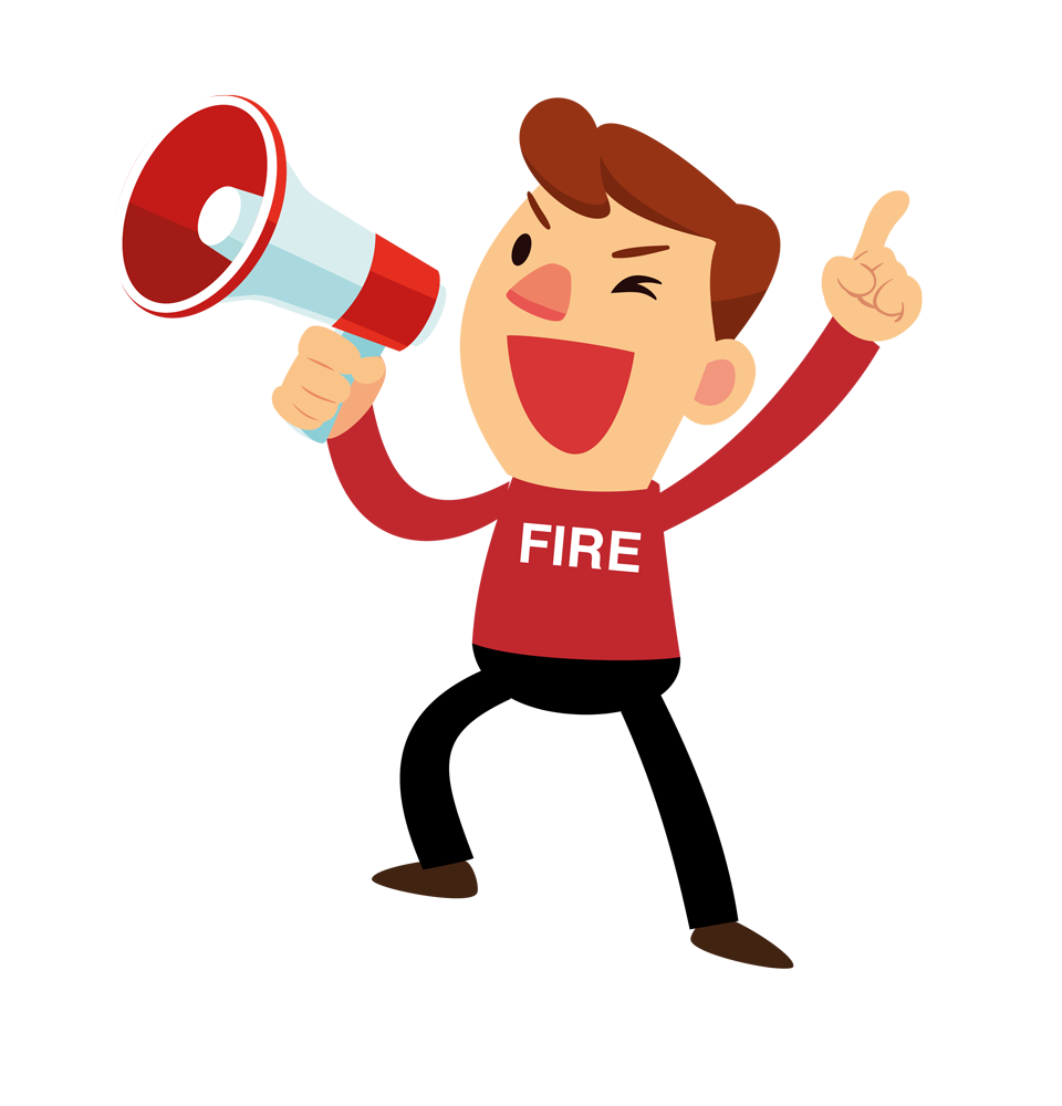 blue spot fire and security fire man character